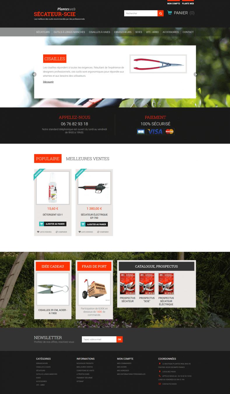 site internet prestashop multiboutique de vente d 39 outils pour jardinage. Black Bedroom Furniture Sets. Home Design Ideas