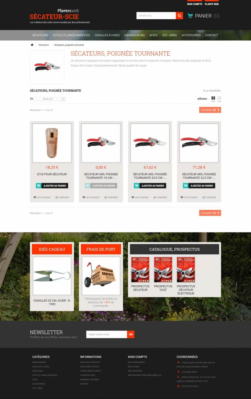 Site internet prestashop multiboutique de vente d 39 outils for Site de jardinage